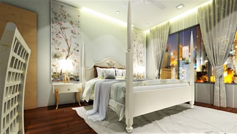 PROPOSED INTERIOR DESIGN AT KHARADI .: colonial Bedroom by DESIGN EVOLUTION LAB