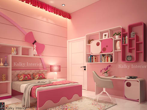 Duplex interior, Bhubaneswar:  Girls Bedroom by kalky interior
