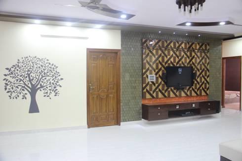 Project Gayatri—Mahalaxmi Layout—Bangalore: modern Living room by Pebblewood.in