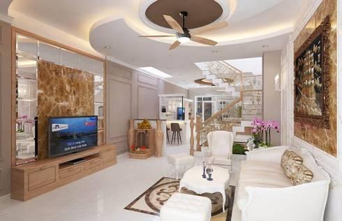 Nhà Phố 3 Tầng Đẹp 5x20m Mang Phong Cách Tân Cổ Điển:  Nhà gia đình by Công ty TNHH Xây Dựng TM – DV Song Phát