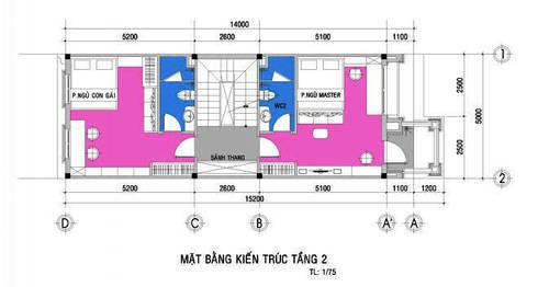 Bản vẽ thiết kế mặt bằng nhà phố 3 tầng:  Nhà gia đình by Công ty TNHH Xây Dựng TM – DV Song Phát