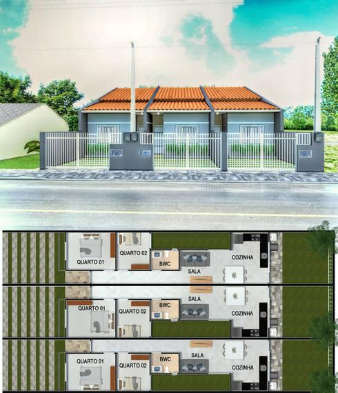 Geminado L.: Casas geminadas  por Yasmin Giese Arquitetura e Interiores