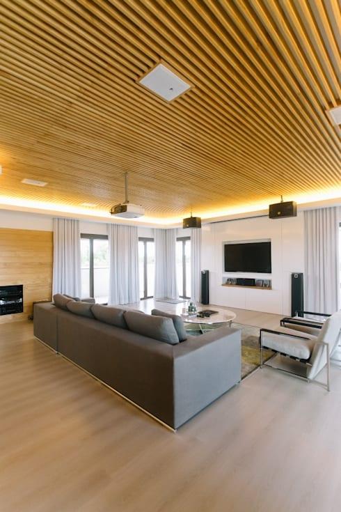 WW House: minimalistic Media room by Living Innovations Design Unlimited, Inc.