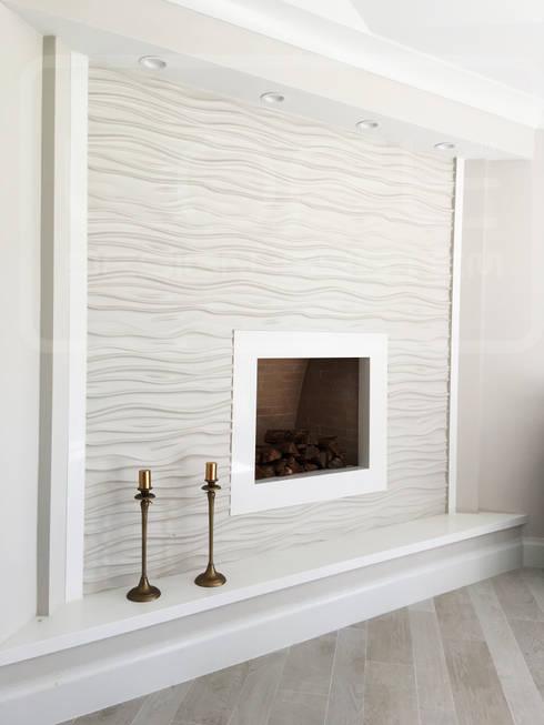 Kamin Wandverkleidung Im Angesagten 3D Look.: Moderne Wohnzimmer Von Loft  Design System Deutschland
