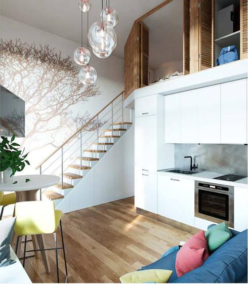 Gác lửng giúp tăng thêm không gian sinh hoạt cho nhà phố diện tích nhỏ.:  Phòng khách by Công ty TNHH Thiết Kế Xây Dựng Song Phát