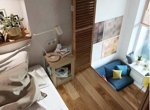 Gác lửng được dùng làm không gian nghỉ ngơi cho gia chủ.:  Phòng ngủ by Công ty TNHH Thiết Kế Xây Dựng Song Phát