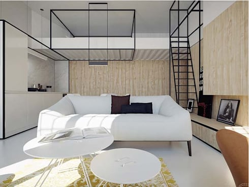 Nhà phố với thiết kế nội thất đương đại.:  Phòng khách by Công ty TNHH Thiết Kế Xây Dựng Song Phát