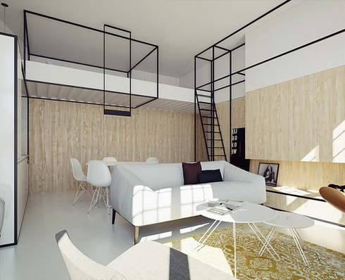 Các ô cửa sổ được bố trí giúp tận dụng ánh sáng tự nhiên nhiều hơn.:  Phòng khách by Công ty TNHH Thiết Kế Xây Dựng Song Phát