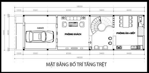 Bản vẽ thiết kế mặt bằng tầng trệt:  Nhà gia đình by Công ty TNHH Xây Dựng TM – DV Song Phát