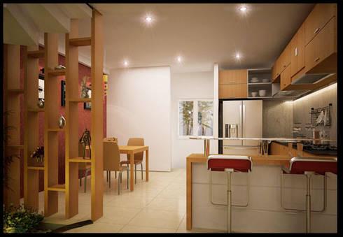 Tư Vấn Thiết Kế Nhà Ống 3 Tầng 1 Tum 5x18m Ở Bình Thạnh:  Tủ bếp by Công ty TNHH Xây Dựng TM – DV Song Phát