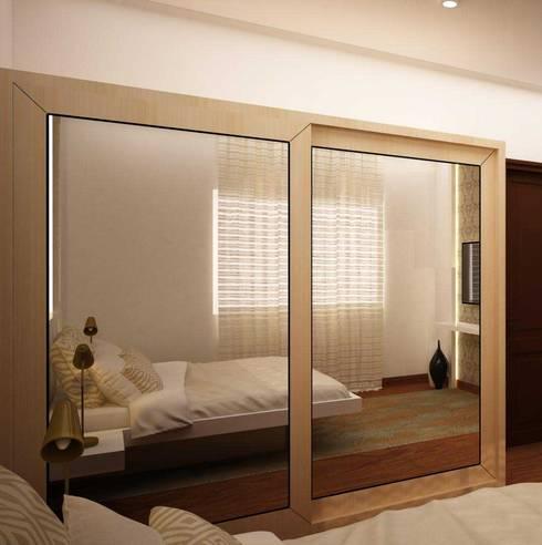 Sliding full mirror wardrobe : asian Dressing room by NVT Quality Build solution