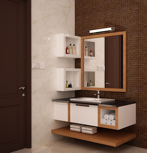 Wash basin open and closed storage :  Bathroom by NVT Quality Build solution