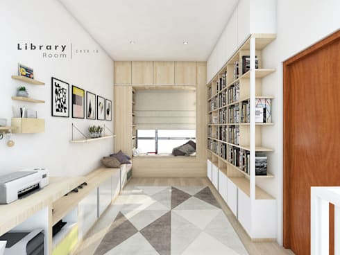 Studi Room & Library:  Ruang Kerja by CASA.ID ARCHITECTS