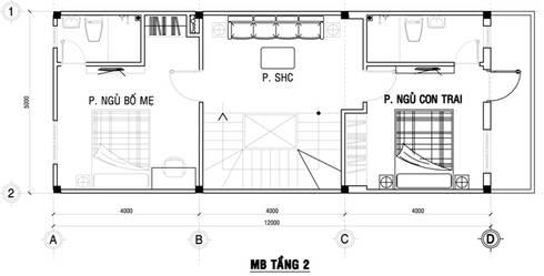 Mặt bằng tầng 2 nhà phố 80m2.:  Nhà gia đình by Công ty TNHH Thiết Kế Xây Dựng Song Phát