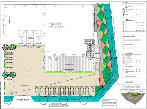 Warehouse development landscaping plan:   by Lemontree Landscape architecture and Design