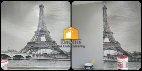 صور قبل وأثناء وبعد التشطيب مع كاسل من اعمال ورق الحائط:   تنفيذ Castle