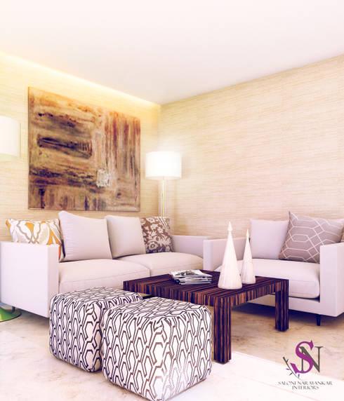 Apartment, Jubilee Hills: modern Living room by Saloni Narayankar Interiors