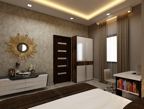 Amanora Park Pune—Pent House: modern Bedroom by DECOR DREAMS