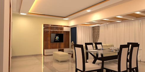 Amanora Park Pune—Pent House: modern Living room by DECOR DREAMS