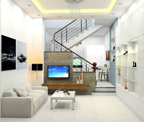 Bố trí nội thất bên trong mẫu thiết kế nhà ống 1 trệt 1 lầu diện tích 50m2:  Phòng khách by Công ty TNHH Xây Dựng TM – DV Song Phát