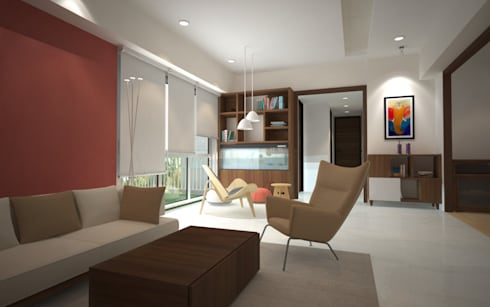 Sodhi Residence: minimalistic Living room by Rhomboid Designs