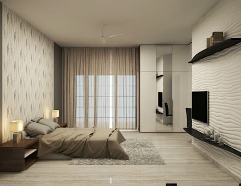 Shobha's Residence,Panaiyur: modern Bedroom by M/s Studio7 Architects