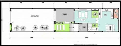 Mặt bằng tầng 1 nhà ống 3 tầng 6x16m.:  Nhà gia đình by Công ty TNHH Thiết Kế Xây Dựng Song Phát