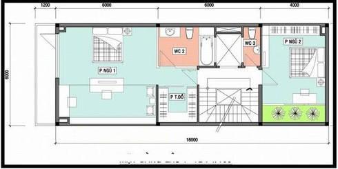 Mặt bằng tầng 2 nhà ống 3 tầng 6x16m.:  Nhà gia đình by Công ty TNHH Thiết Kế Xây Dựng Song Phát