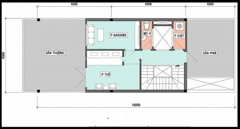 Mặt bằng tầng 3 nhà ống 3 tầng 6x16m.:  Nhà by Công ty TNHH Thiết Kế Xây Dựng Song Phát
