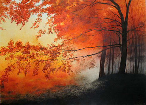 """Avail """"Mad red"""" Landscape Art by Bhanupratap Khare:  Artwork by Indian Art Ideas"""