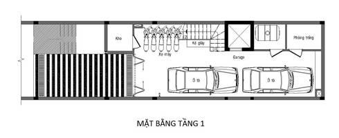 Bản vẽ mặt bằng tầng 1 nhà phố 4 tầng 4x15m.:  Nhà gia đình by Công ty TNHH Thiết Kế Xây Dựng Song Phát