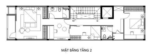 Bản vẽ mặt bằng tầng  nhà phố 4 tầng 4x15m.:  Nhà by Công ty TNHH Thiết Kế Xây Dựng Song Phát