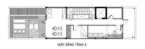 Bản vẽ mặt bằng tầng 4 nhà phố 4 tầng 4x15m.:  Nhà gia đình by Công ty TNHH Thiết Kế Xây Dựng Song Phát