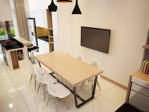 Phòng ăn sạch sẽ là nơi hoàn hảo dành cho những bữa ăn của gia đình.:  Phòng ăn by Công ty TNHH Thiết Kế Xây Dựng Song Phát