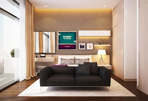 Một chiếc ghế sofa đơn giản nhưng vô cùng đẹp mắt.:  Phòng ngủ by Công ty TNHH Thiết Kế Xây Dựng Song Phát