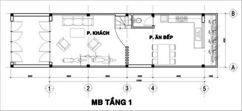 Tầng 1: Gồm có các không gian: sân trước, phòng khách, phòng bếp + ăn, 1 vệ sinh, cầu thang lên tầng.:  Nhà gia đình by Công ty TNHH Xây Dựng TM – DV Song Phát