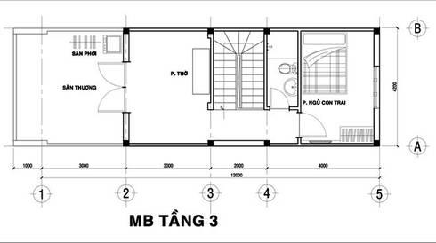 Tầng 3: Gồm các không gian: 1 phòng ngủ, 1 phòng vệ sinh, phòng thờ, giếng trời và sân thượng.:  Nhà gia đình by Công ty TNHH Xây Dựng TM – DV Song Phát