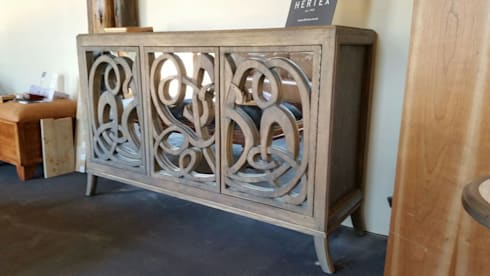 Hand carved sideboard with mirror: eclectic Living room by MELLOWOOD Furniture