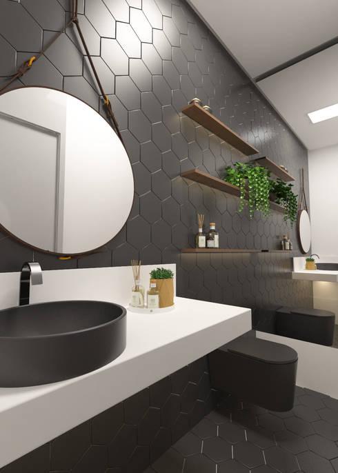 Residencial Unifamiliar JN: Banheiros  por Daniela Andrade Arquitetura