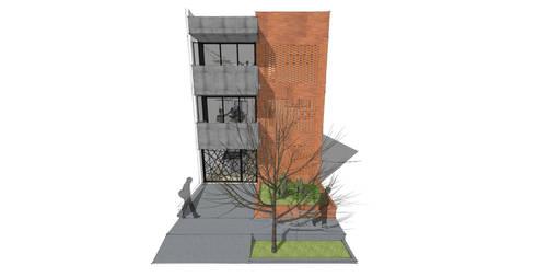 Fachada Edificio Multifamiliar_Ciudad Modelo: Casas multifamiliares de estilo  por MODOS Arquitectura