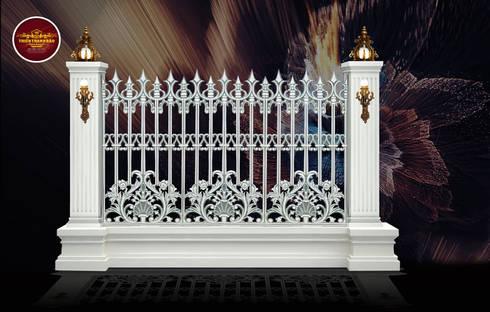 Hàng rào nhôm đúc sơn giả đá:  Biệt thự by Cổng nhôm đúc Thiên Thanh Bảo