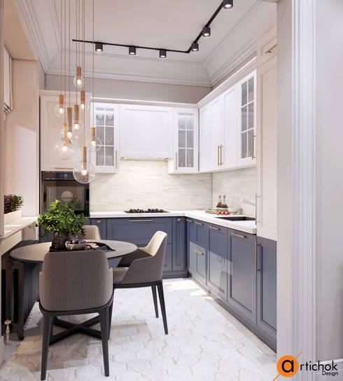 Небольшая кухня в светлых тонах - идеи дизайна интерьера кухни: Встроенные кухни в . Автор – Art-i-Chok