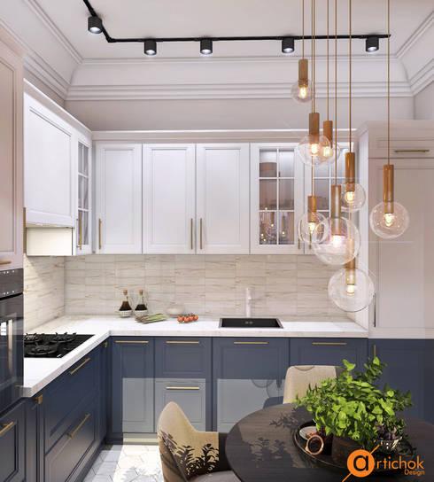 Идеи дизайна небольшой кухни в белом и синем цветах: Кухни в . Автор – Art-i-Chok
