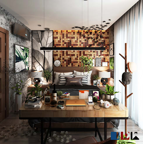 bedroom tropical:  ตกแต่งภายใน by interir design work