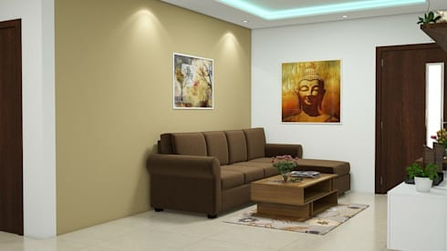 Living room:   by Aamuktha Designs