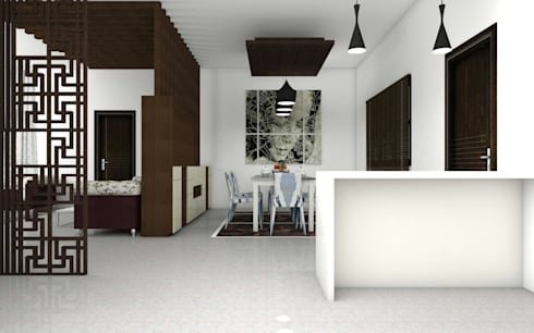 Interiors: modern Dining room by Kruthi Interiors