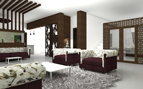 Interiors: modern Living room by Kruthi Interiors