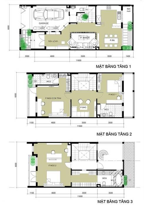 Bản vẽ thiết kế mặt bằng mẫu nhà 3 tầng:  Nhà gia đình by Công ty TNHH Xây Dựng TM – DV Song Phát