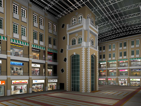 Shopping mall interior:  Commercial Spaces by SDINC