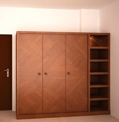 Wardrobe with open display:  Bedroom by NVT Quality Build solution